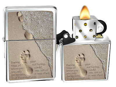 Zippo Lighter 28180 Footprints In The Sand Brushed Chrome Classic NEW