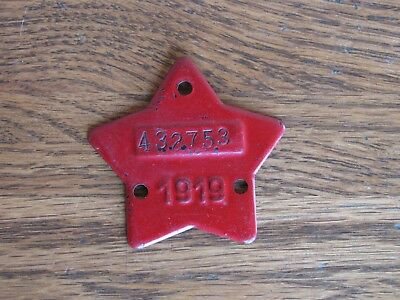 ☆ 1919 California License Plate RED STAR Tag Tab Topper Badge Antique
