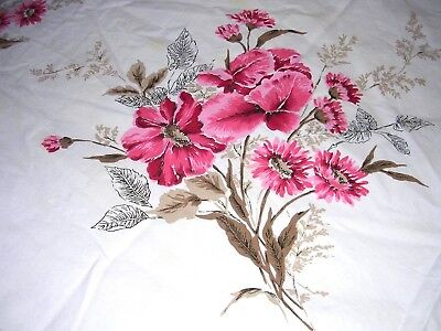 019T Vintage Cotton PRINTED Tablecloth PINK RED FLORAL Iris Daisies 47 x 51