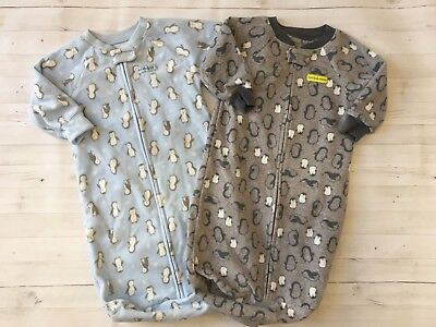 Lot Of 2 Carters Baby Boy Fleece Sleeper Sacks Sleep Bags Size 0-9 Months EUC