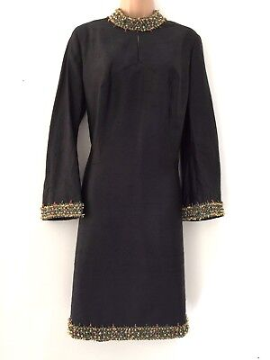 Vintage 60's Black Slub Fabric Braid Bead & Jewel Embellished Party Dress 16