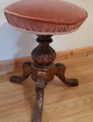 Victorian Adjustable Rotary Piano Stool Carved Oak