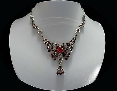 Vintage Butterfly Necklace Siam Australia Crystals Party Jewelry N5089