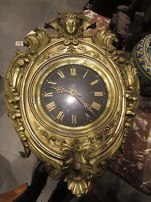 antique chime eye of ox wall clock time III xixth brass regrowth