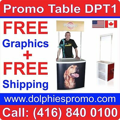 Promotional Demo Counter Portable Promo Table Counter Booth Trade Show + PRINT