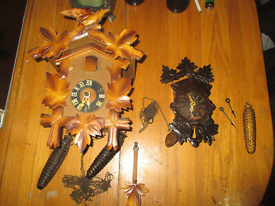 lot of 2 vintage antique black forest germany cuckoo clock clocks parts repair