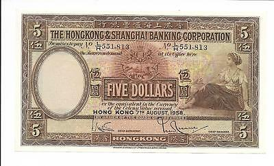 Hong Kong Bank - $5, 1958. Choice Unc. Large Note.