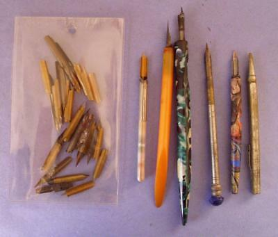Group 5 Antique/vintage Pens, Assourted Nibs & Mechanical Pencil