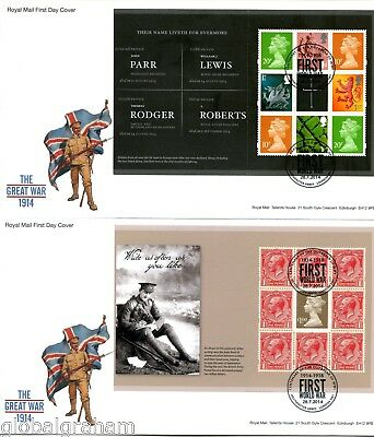 2014 GREAT WAR 1914 GREAT BRITAIN ROYAL MAIL PRESTIGE BOOKLET PANES FDC x4 VGC