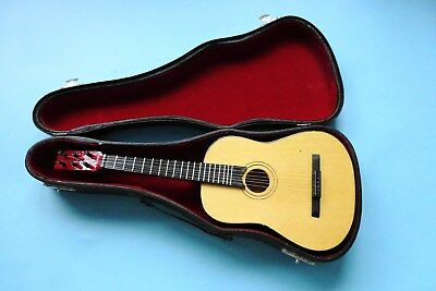 "Working Miniature Steel Strung Acoustic Guitar 10"" x 4"" In Velvet Lined Case"