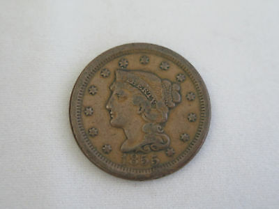 1855 U.S. Braided Hair Copper Large Cent