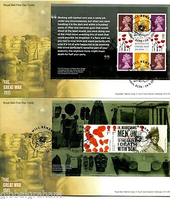 2015 GREAT WAR 1915 GREAT BRITAIN ROYAL MAIL PRESTIGE BOOKLET PANES FDC x4 VGC