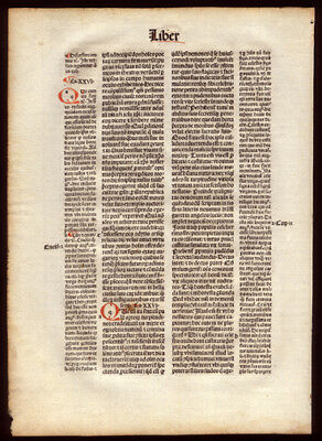 1494 Incunable Leaf Commentary The CIty of God St Augustine Hand-Colored Letters