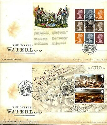 2015 WATERLOO GREAT BRITAIN ROYAL MAIL PRESTIGE BOOKLET PANES FDC x4 VGC