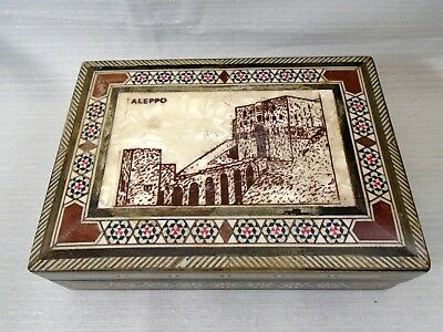 Ornate Old Middle Eastern Mosaic Inlay Wooden Box Souvenir ALEPPO Castle