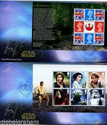 2015 STAR WARS GREAT BRITAIN ROYAL MAIL PRESTIGE BOOKLET PANES FDC x5 VGC