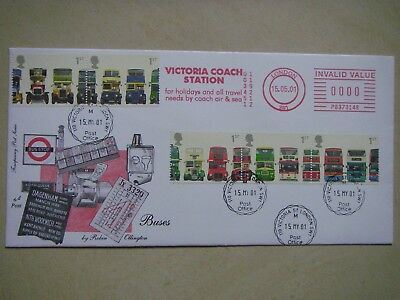 Buses (5v) 2001 4d Post FDC Victoria H/S and M/M.