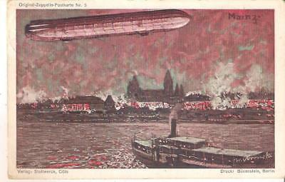 n86 Germany Zeppelin Airship over Mainz Used to Belgium 1909