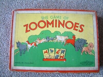The Game Of ZOOMINOES Glevum Games Dominoes Vintage Made in England animal cards