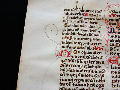 "1280 AMAZING Medieval Vellum, rare ""Original Leaf"" from a Book of Hours...F03"