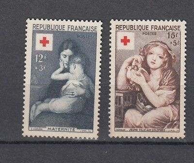 France 1954 Red Cross Issue Pair Mnh !!!!!!!!!cat £40+ (F156)