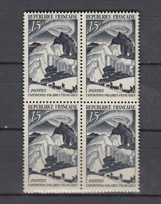 France Superb Mnh 1949 Polar Expeditions Issue Block Of 4 (F177)