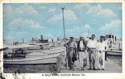 Colonial Beach Virginia Days Catch Fishermen Antique Postcard K77428