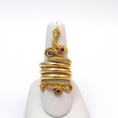 Victorian 18k Gold 5 Row Snake Serpeant Ruby Sapphire Coiled Ring Sz 7-9