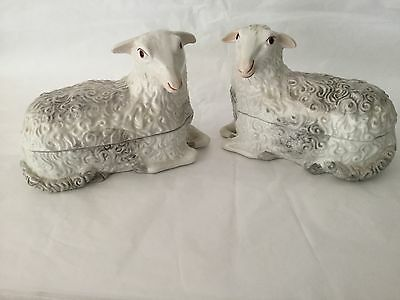 Vintage Pair of Italy porcelain LAMB SHEEP boxes