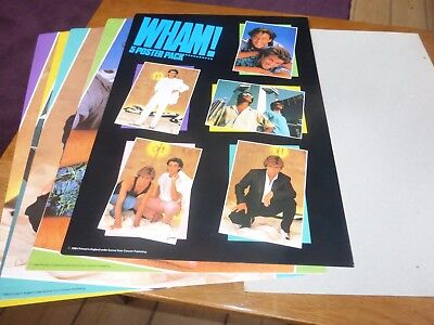 wham george michael x 5  photo poster pack + 1984 official fan club item