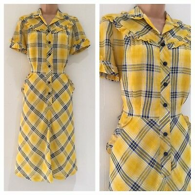 Vintage 1980's Yellow & Blue Check Print Ruffle Trim Casual Day Dress Size 12