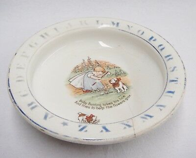 Antique Holdfast Baby Plate Baby Bunting Takes His Hoe Alphabet Rim Heavy As Is