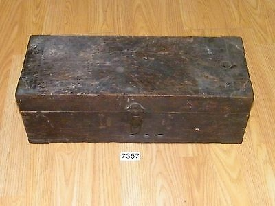Vintage Rustic Carpenter's Wooden Tool Box Trunk Chest Lots of Wear