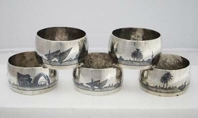 Beautiful Set Of 5 Antique Islamic Iraqi Marsh Arab Silver Napkin Rings