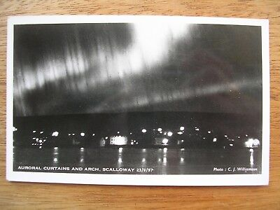 Scalloway, Auroral Curtains And Arch, 23 Sept 1957, R/p