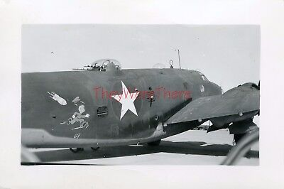 WWII photo- PV Ventura / Harpoon Bomber plane Nose Art- BOMB CHASES ENEMY 69'