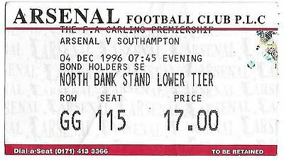 Football Ticket>ARSENAL v SOUTHAMPTON Dec 1996