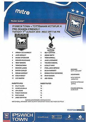 Football Teamsheet>IPSWICH TOWN v TOTTENHAM HOTSPUR Aug 2010 Friendly