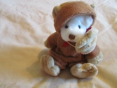 Cute Little White Bear In Monkey Suit / Mask. Stocking. Christmas Gift *look*