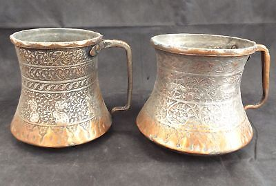 Vintage Pair Of Faded Copper Jugs - D20