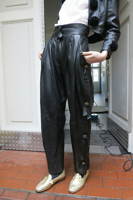 glam rock Lederhose Damen Hose Leder 90er True VINTAGE leather trousers black