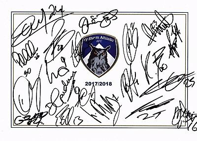 New, Oldham Athletic Fc, 2017/18 Superb Signed A4 Card Sheet By 20 In Total,