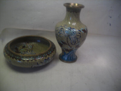 perfect chinese cloisonne vase & matching bowl