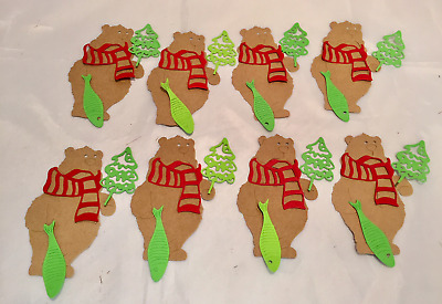 Christmas Bear Die Cuts * Bear with Scarf, Fish, and Tree * Cute * Set of 8!