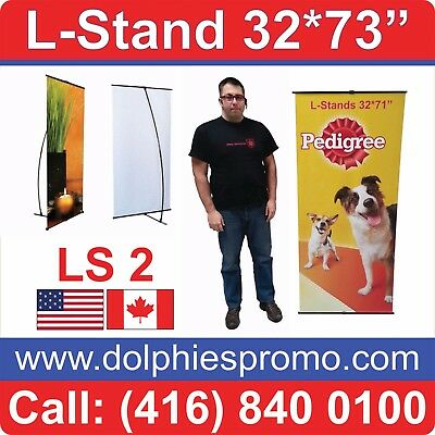"""Trade Show Portable Lightweight L Banner Stand 32*71"""" Display Signage + GRAPHICS"""
