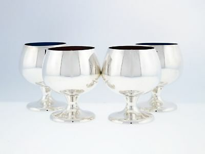 Set Of 4 Gorham Sterling Silver 955 Red Blue Enameled Cordial Cups Shot Glasses