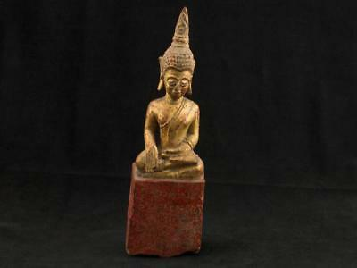 "NobleSpirit NO RESERVE 3970 Antique 8 1/2"" Thai Wood Carved Sitting Buddha"