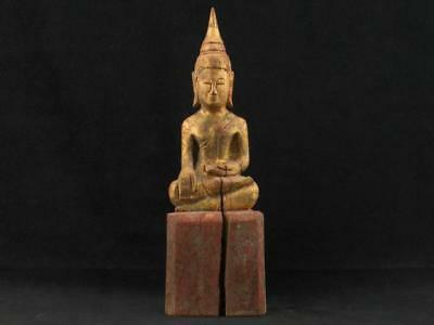 "NobleSpirit NO RESERVE 3970 Fabulous 9 1/2"" Carved Wood Sitting Buddha Statue"