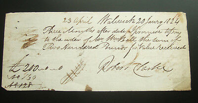 Antique 1824 Promissory Note for £200 for Robert Clarke, Salwick, Lancs
