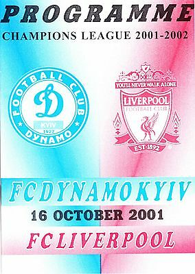 DYNAMO KYIV v Liverpool, Champions League, 16th October 2001